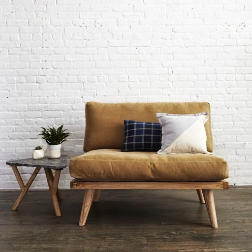 sweet designer couches. White brick  darker accessories Designer Jason Picken s collaboration with Steven Alan Home DIY Projects Ash alan and Oil