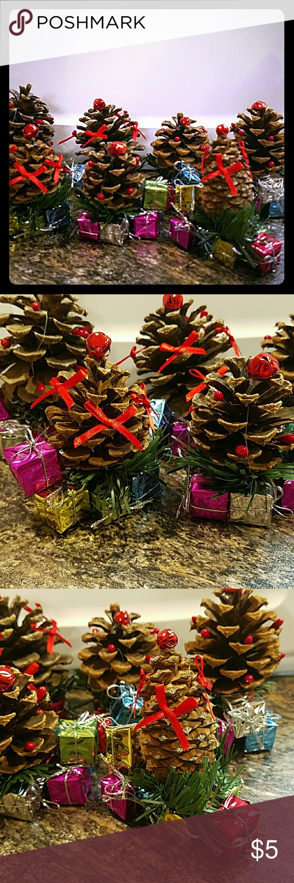 Christmas Decor Pine cones with festive present decor. Great party decor, or holiday trimming! Set of 7 Other