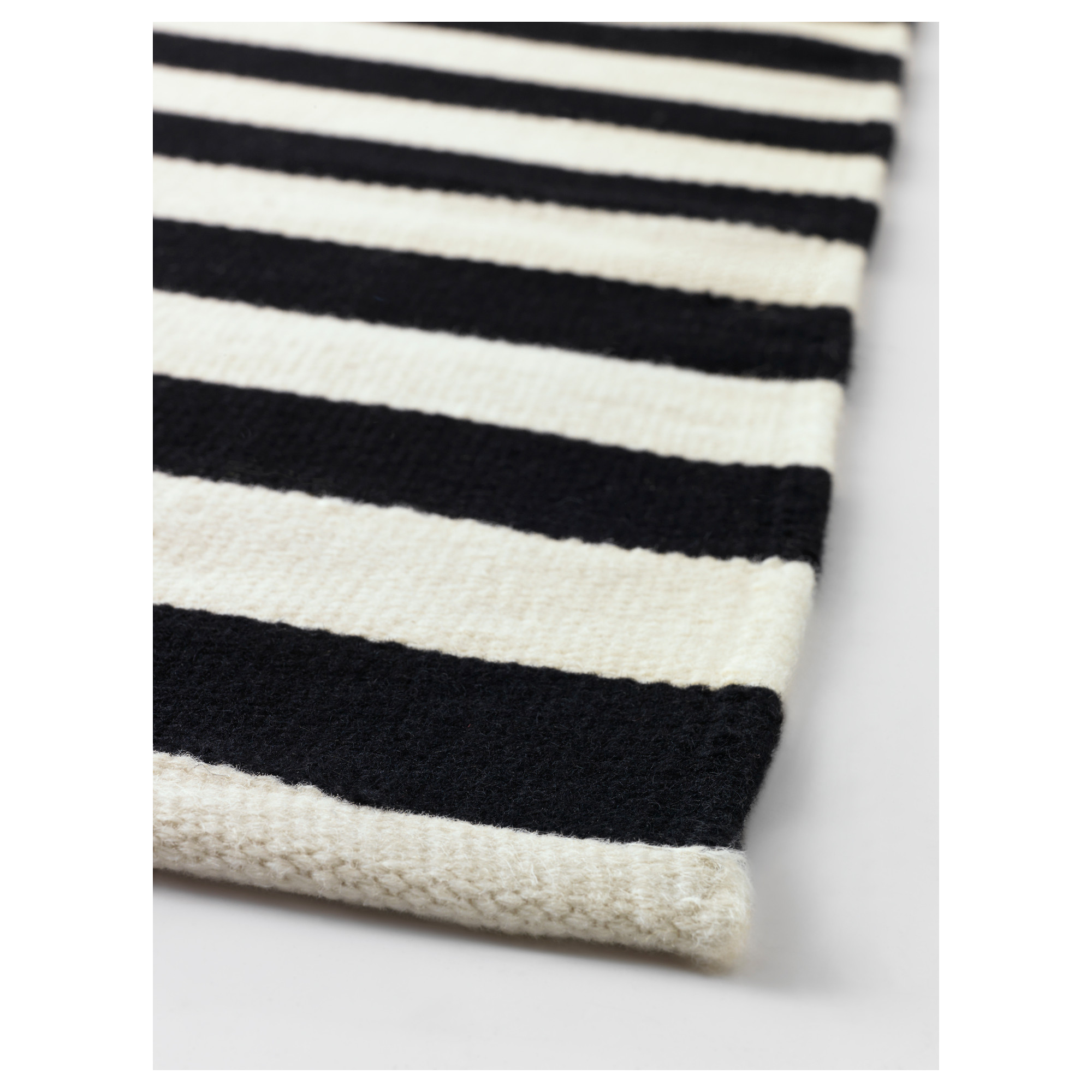 Ikea Stockholm Rug Flatwoven Black Striped Handmade Off White