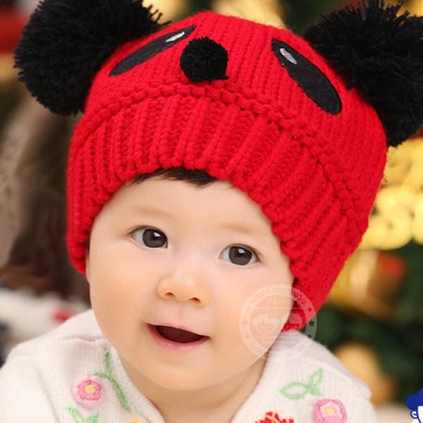Warm Toddlers Baby Kids Cartoon Panda Ball Knited Crochet Beanie Cap Winter Hat