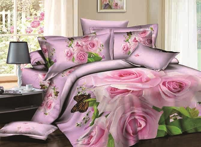 3d pink rose and butterfly printed cotton 4 piece bedding sets duvet