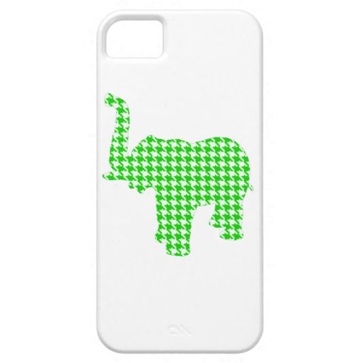 Green Houndstooth Elephant iPhone 5/5S Case