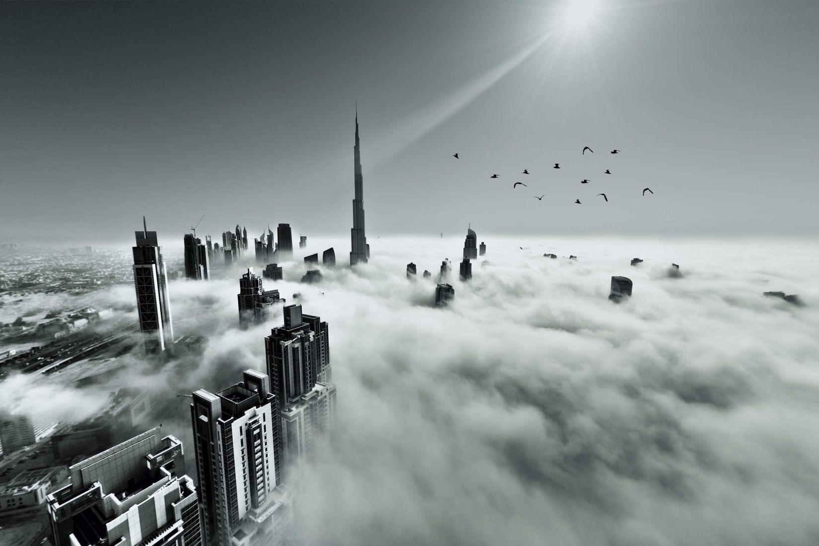 Dubai Skyline Wallpaper City Mist Design