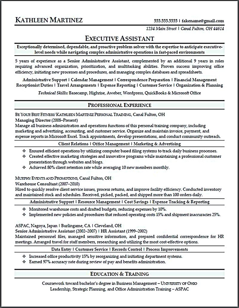 resume for executive assistant executive assistant resume is made for those professional who are