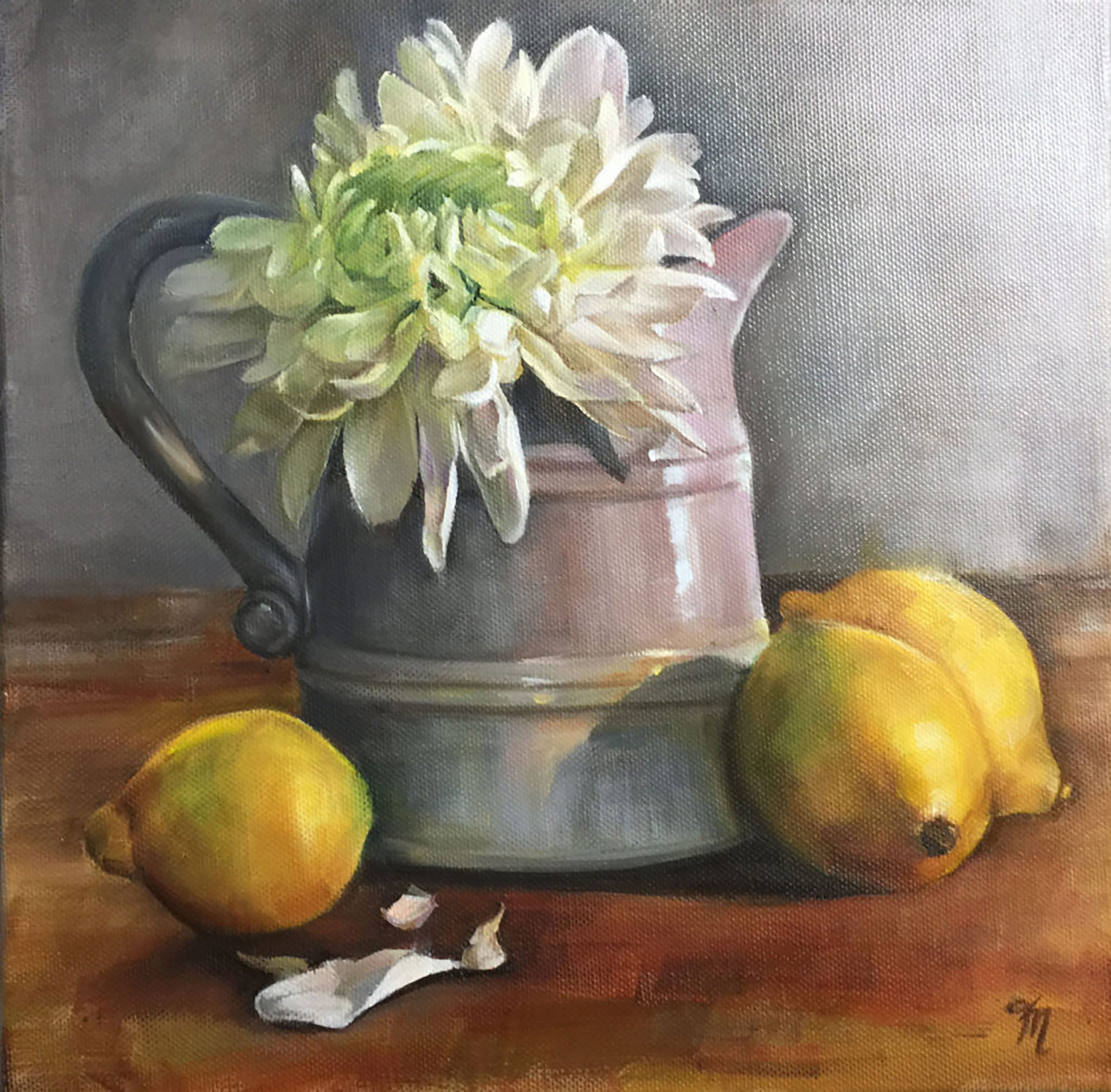 'Shining Light', oil painting of beautiful white chrysanthemums in a grey jug with lemons by Trish Mitchell