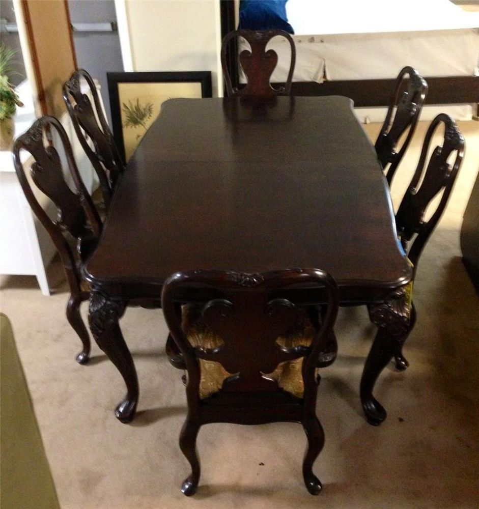 Thomasville Brompton Hall Mahogany Dining Table And Chair Set 4 Side 2 Arms