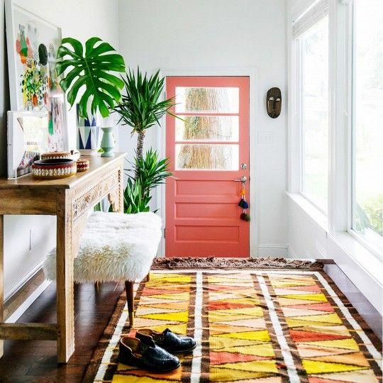 Une porte du0027entrée corail pour une entrée péchue Home Sweet Home