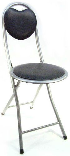 DLUX Small Folding Chairs Comfortable Light Portable Padded Back Support  Black