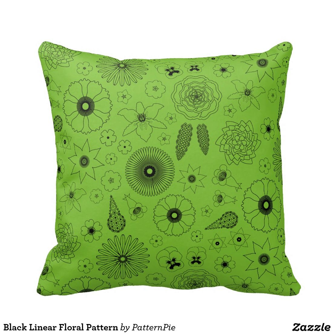 Black Linear Floral Pattern Throw Cushions