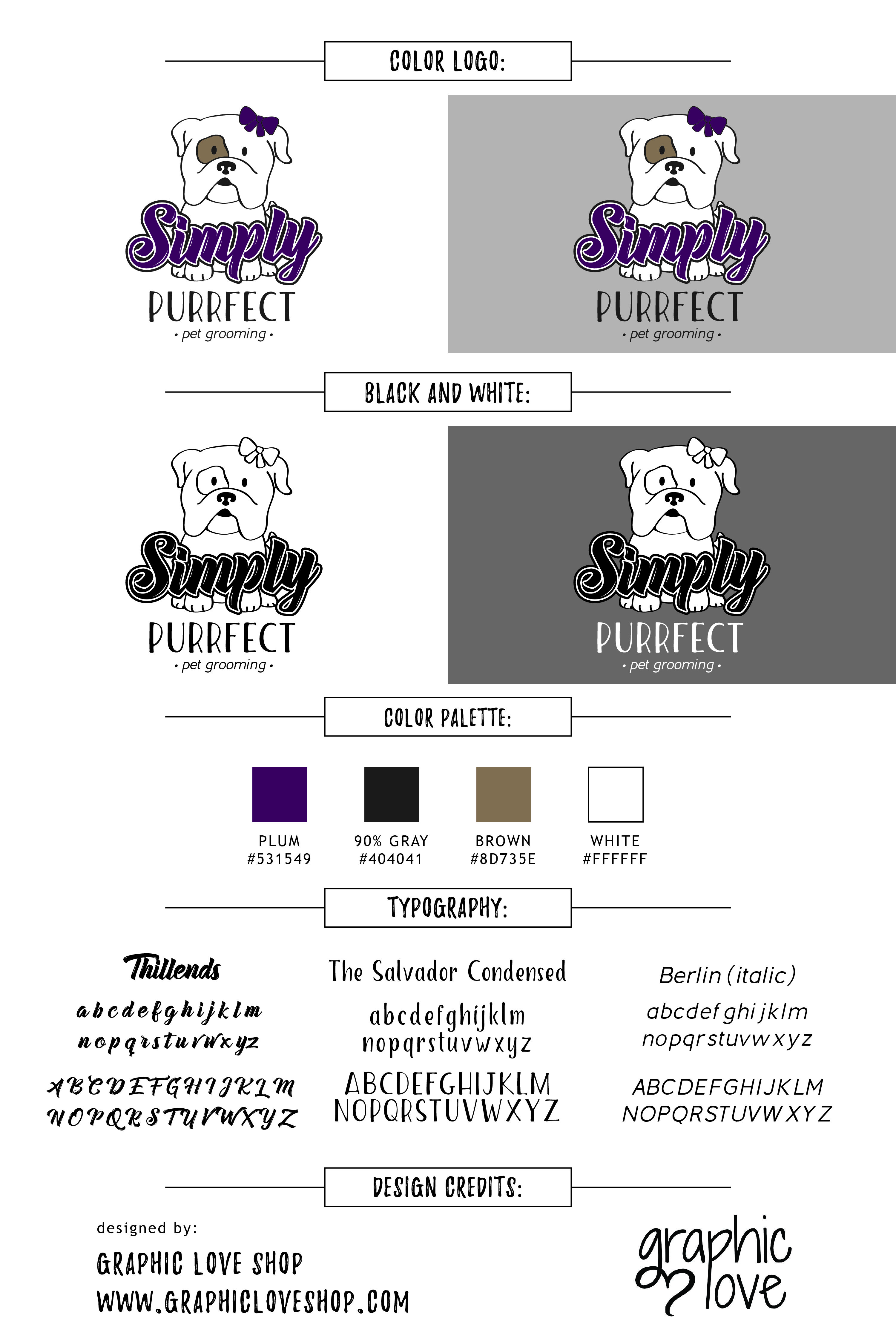 Bran Board/Logo designed for Simply Purrfect: pet grooming in Las ...