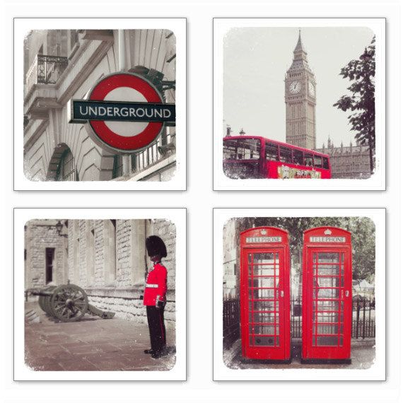 London in Red, Set of 4 retro style photographs, Various sizes available. $24.00, via Etsy.