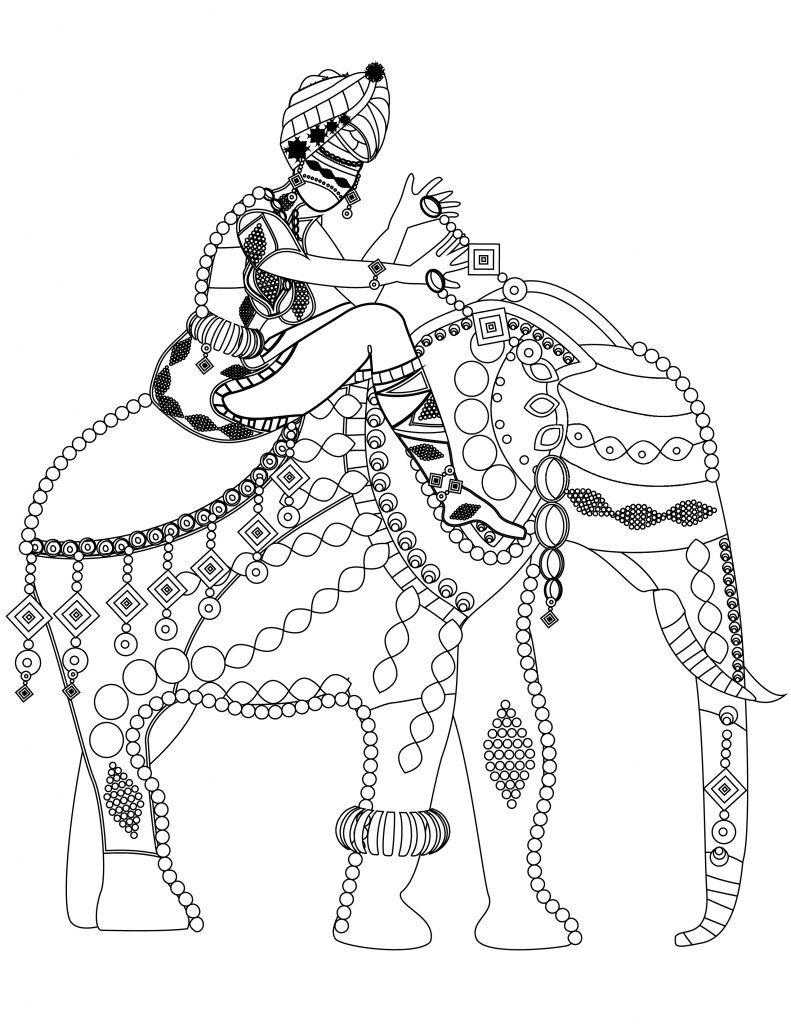 Coloriage gratuit l phant du sud de l inde voyage - Dessin elephant ...