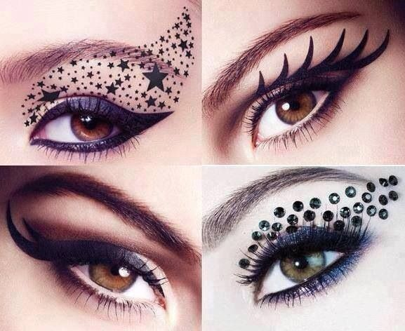 Creative eyeliner and sequin ideas.