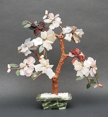 Vintage Jade Glass Bonsai Flower Tree Flowering Bonsai Tree Jade Tree Jade Bonsai