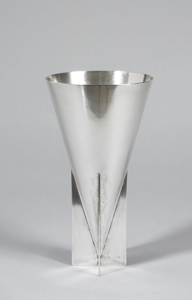 Inverted cone-shaped vase with base of cross form. | Vase ...
