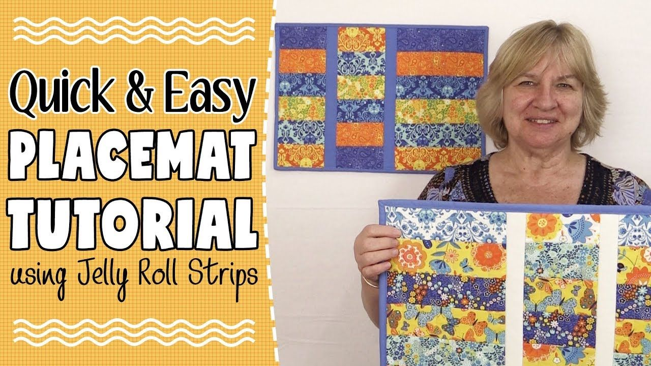 Quick Easy Strip Placemat Tutorial Using Jelly Roll Strips Jelly Roll Quilt Patterns Jellyroll Quilts Jelly Roll Projects