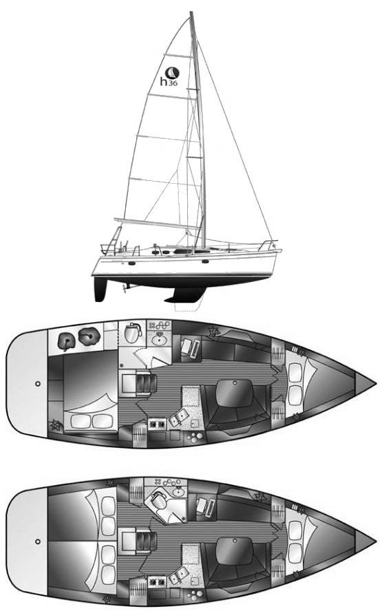 Hunter 36-2 drawing on sailboatdata.com