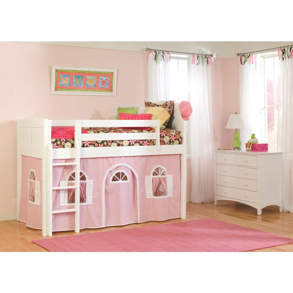 Best Bolton Furniture Cottage White Twin Low Loft Bed With Pink 400 x 300