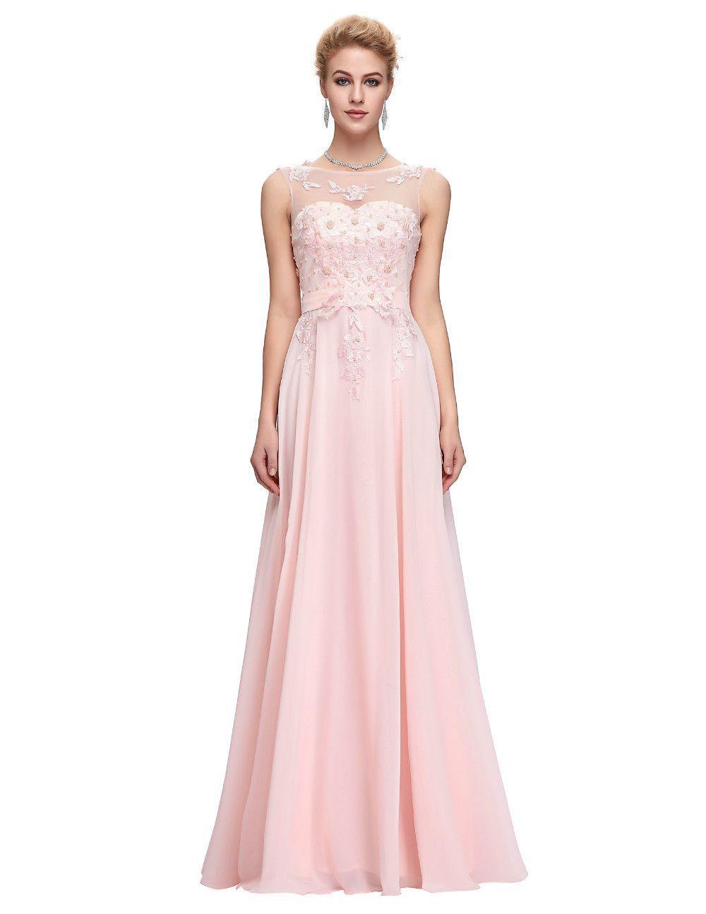 Sleeveless chiffon pink red royal blue black long bridesmaid dress