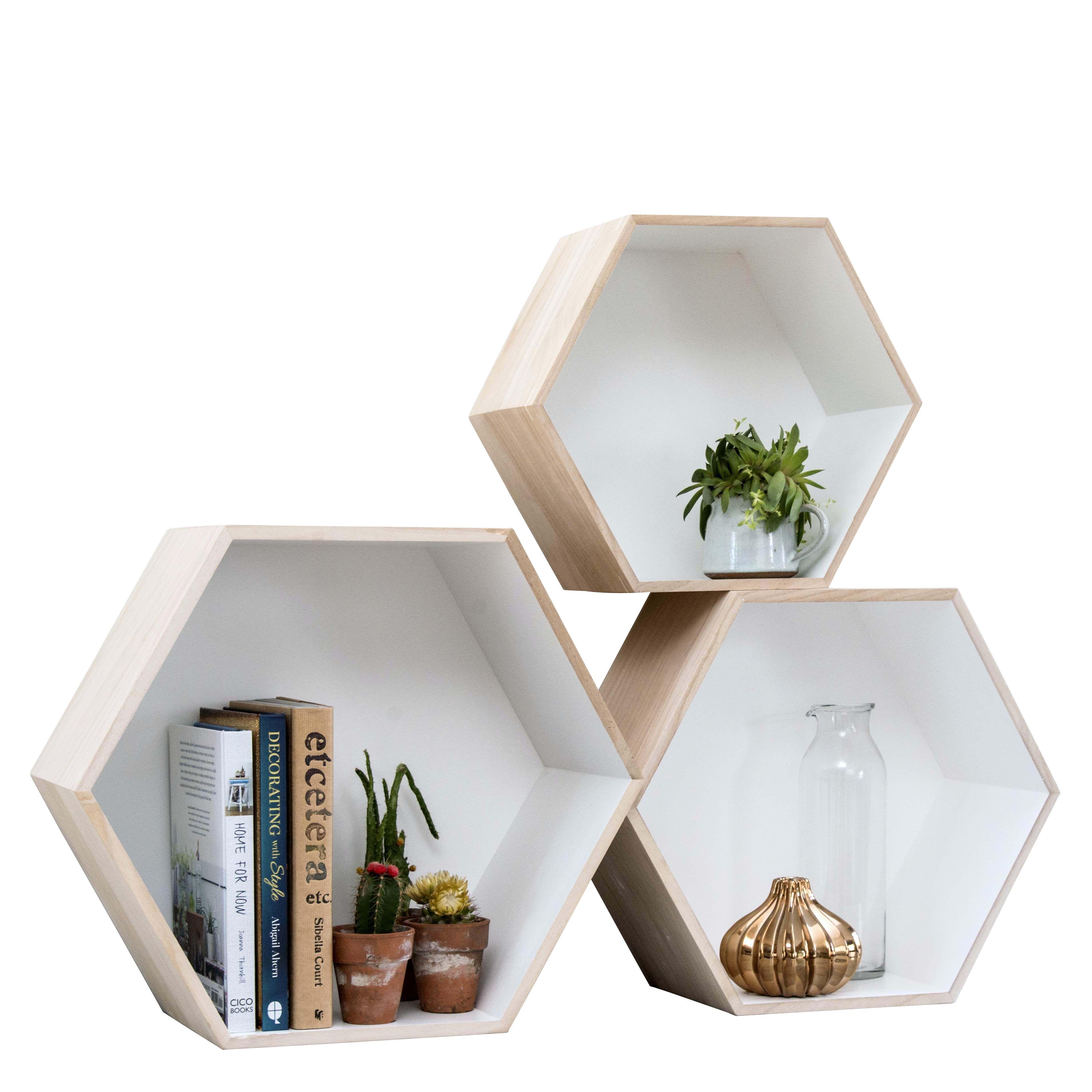 Furniture Box Set Of 3 Hexagon Box Shelves Home Accessories House Home