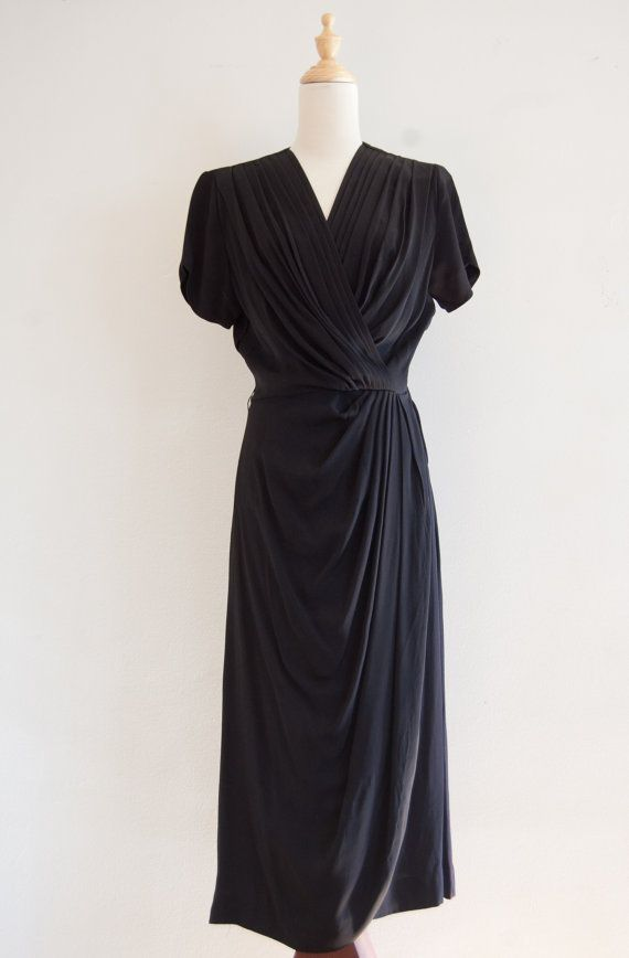 1940s Styled By Kay Louise Black Dress Vintage Draped Goddess