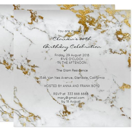 Event Birthday Black Gold Gray Marble Minimal Card - invitation card event