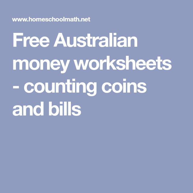 Free Australian money worksheets counting coins and