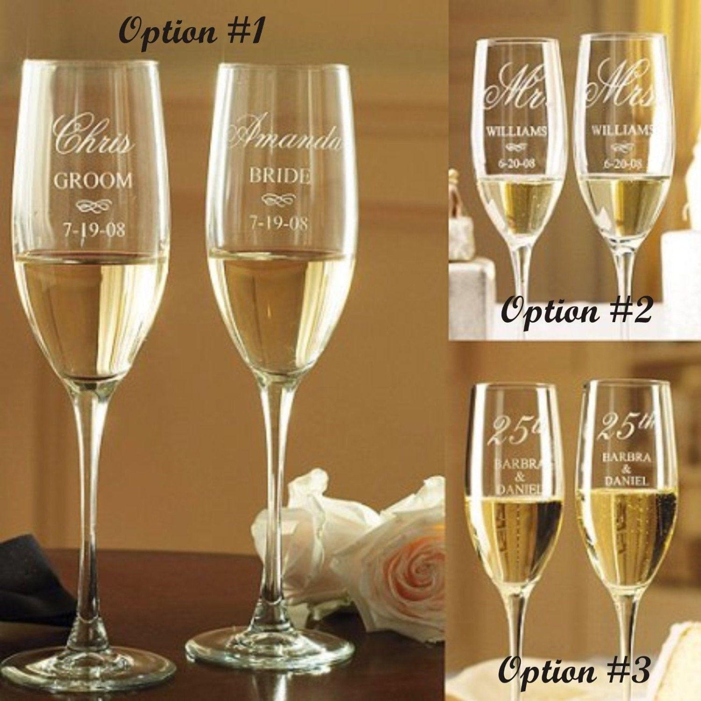 Mr and mrs wedding toasting flutes wedding glasses