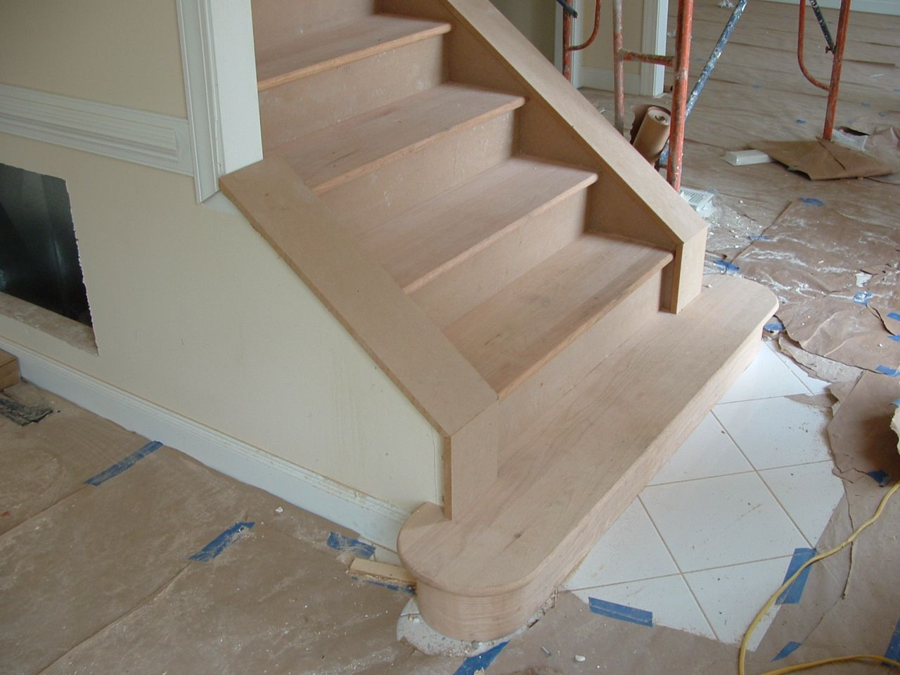 Front staircase when facing a main door