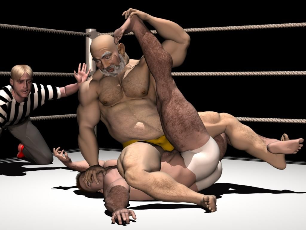 Muscle guys in real action sex wrestling