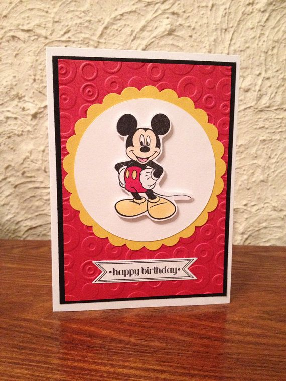 This Handmade Card Has Mickey Mouse On The Front Embossed Red Paper Is Used For With A Black Mat Stamped And Colored Copic