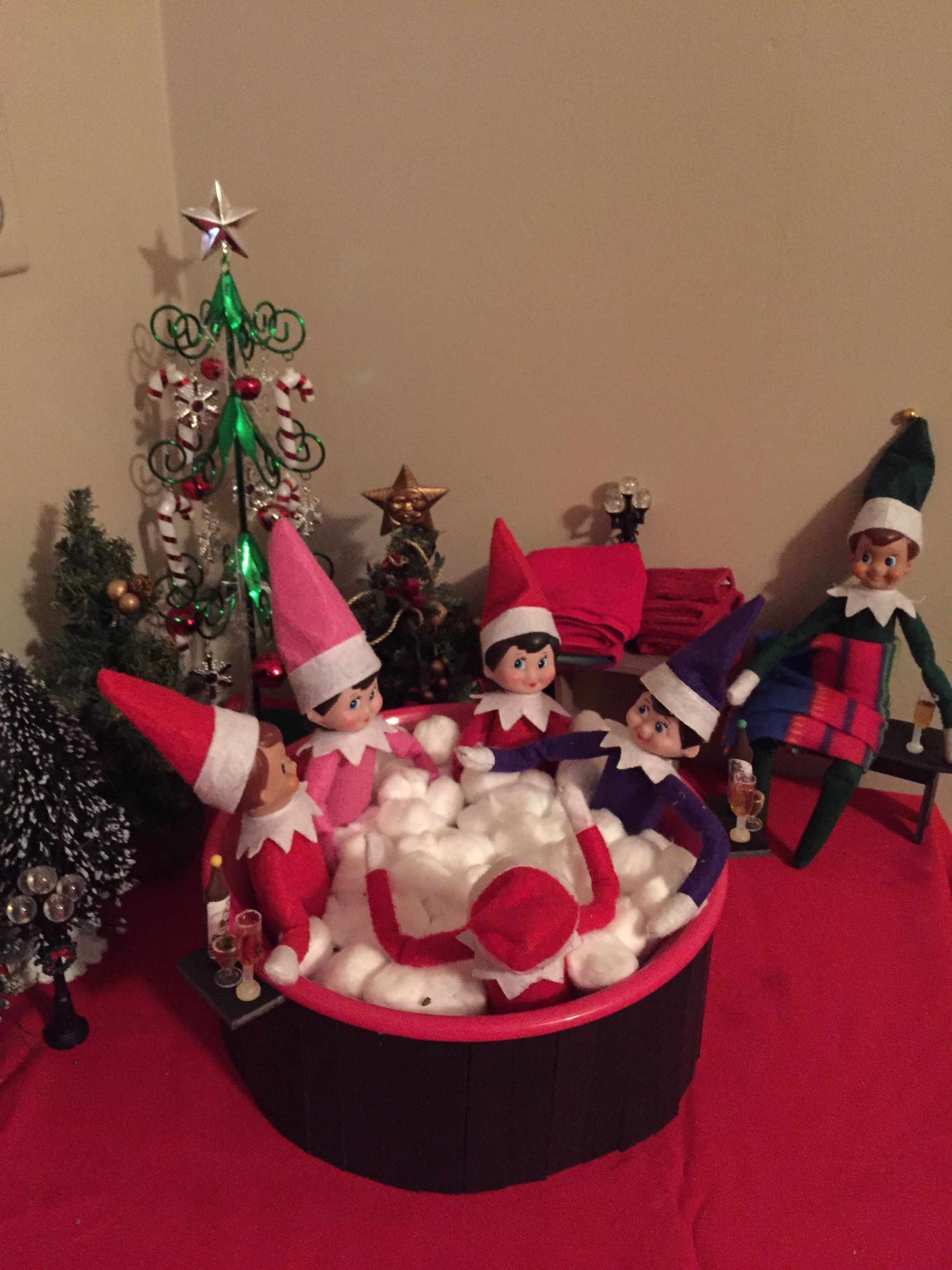 Dec elf on the shelf in the hot tub christmas pinterest