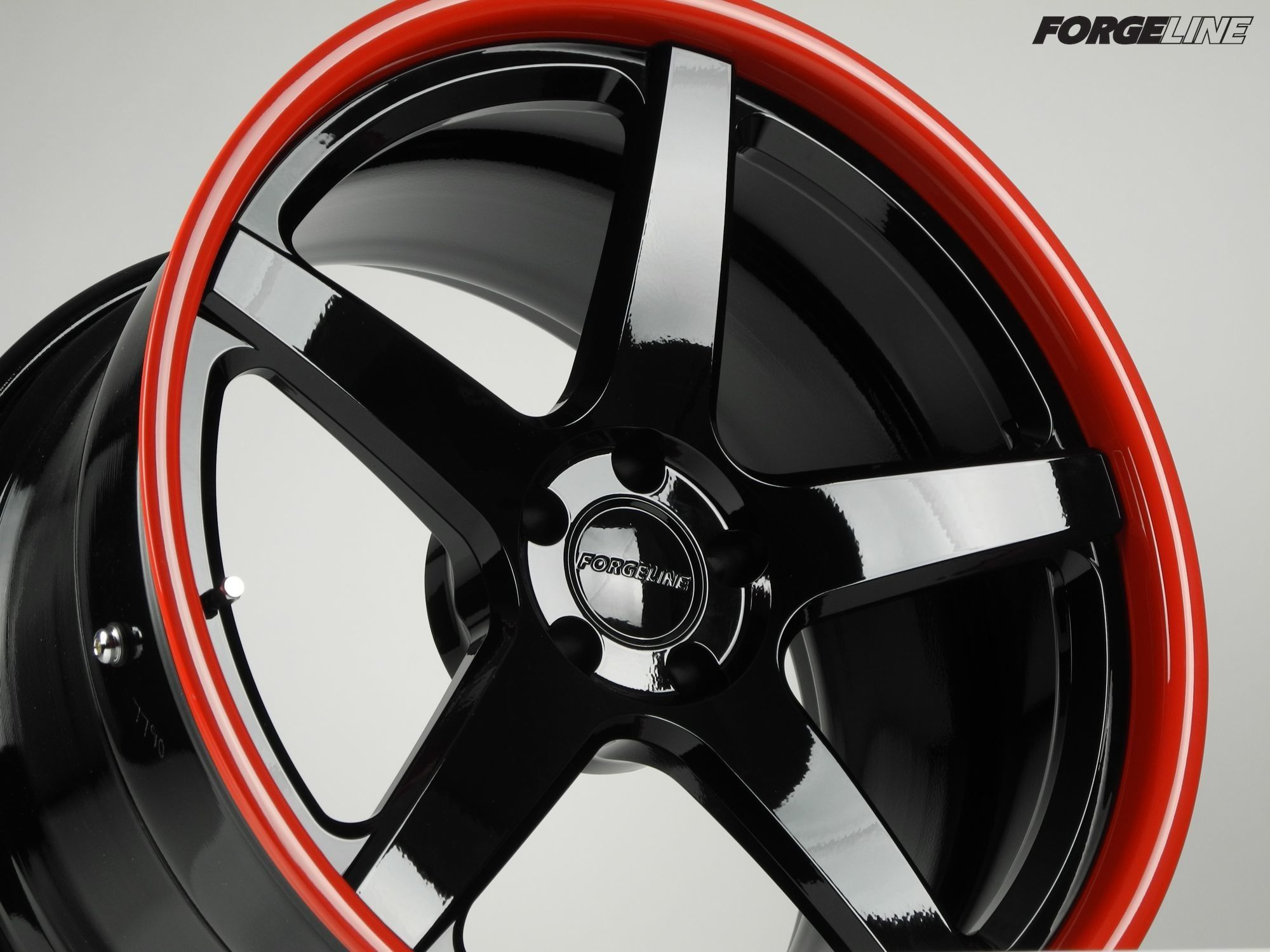 This forgeline cf3c concave wheel was built for a ferrari f430 and finished in gloss black