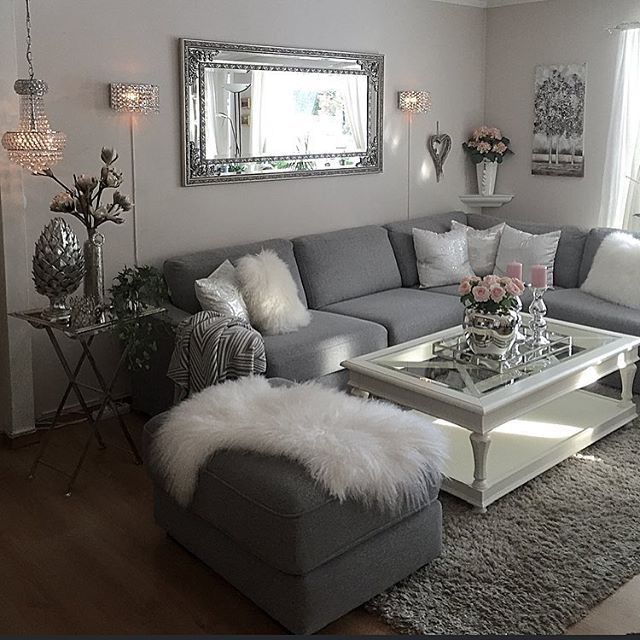 Grey And White Theme With Elements Of Pink And Silver Living Room Design Decor Farm House Living Room Apartment Living Room