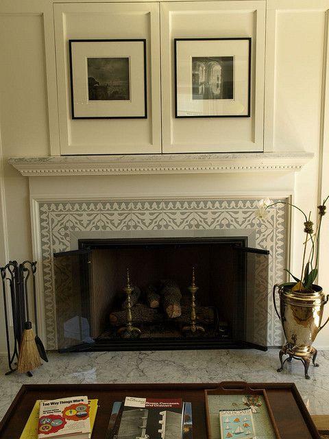 This Handmade Yuna Cement Tile Border Frames The Firebox