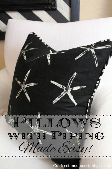 DIY Starfish Stamped Pillows with Piping Tutorial