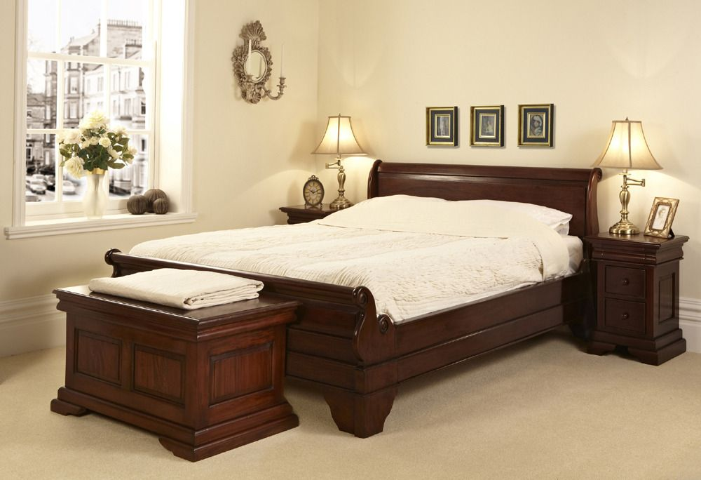 Gb10 M4 Mahogany Sleigh Bed Low Foot Board Grosvenor Beds Ltd