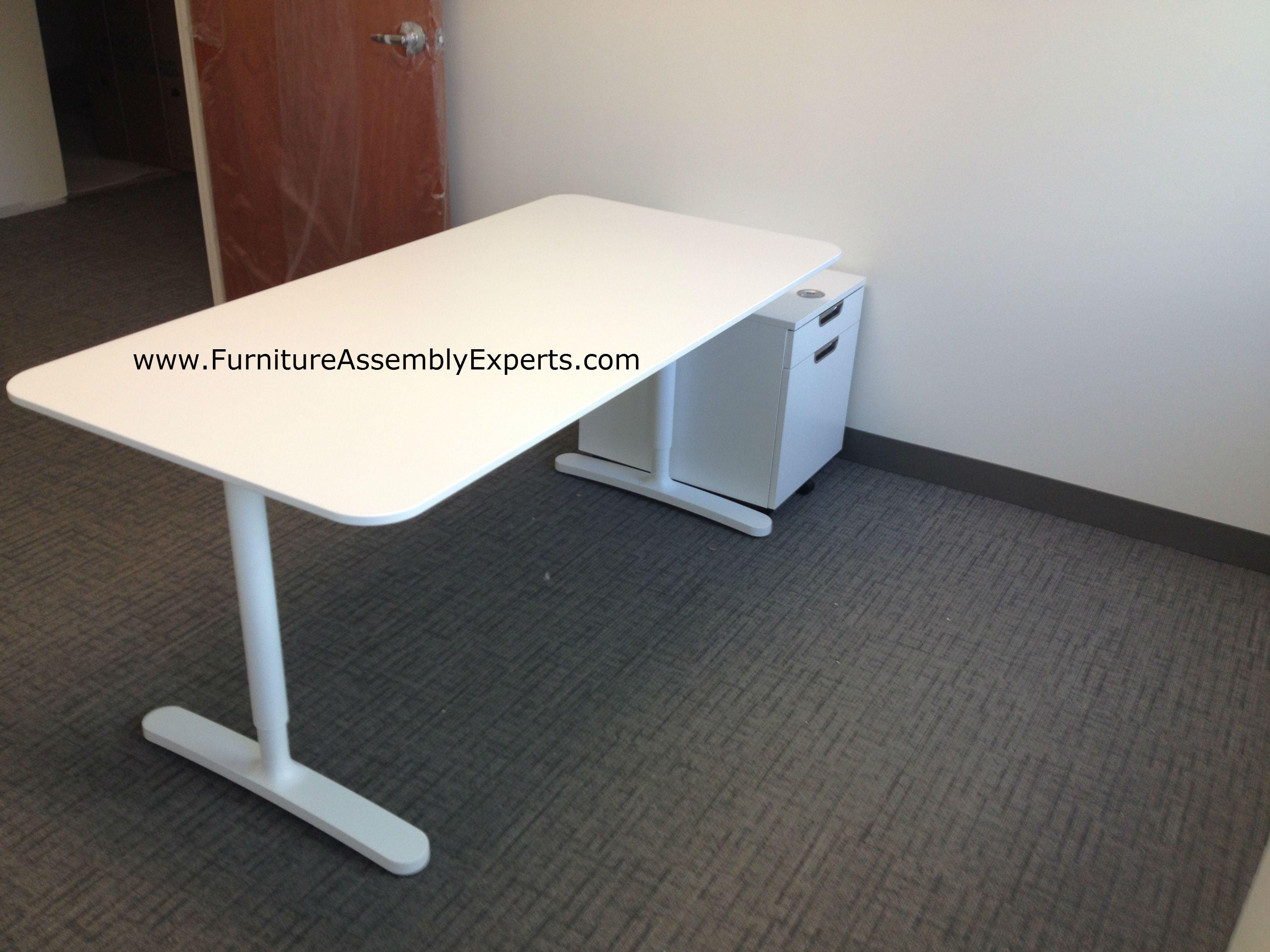 assembled office desks. ikea bekant office desk and file cabinet assembled in germantown md by furniture assembly experts llc desks c