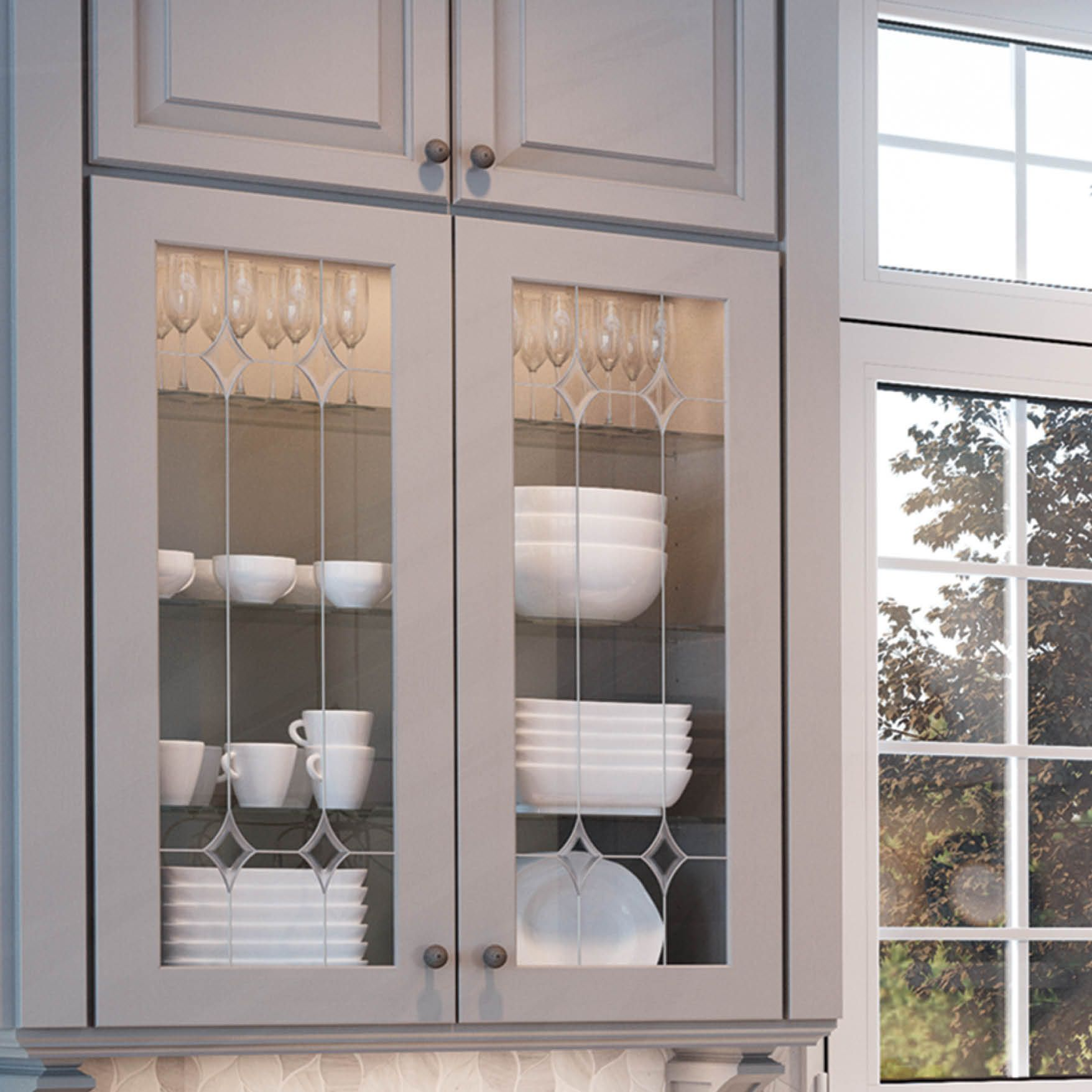 Add A Touch Of Class With Glass We Did Afton Glass Inserts With 610 Painted Stone One O Glass Cabinet Doors Glass Kitchen Cabinet Doors Glass Kitchen Cabinets