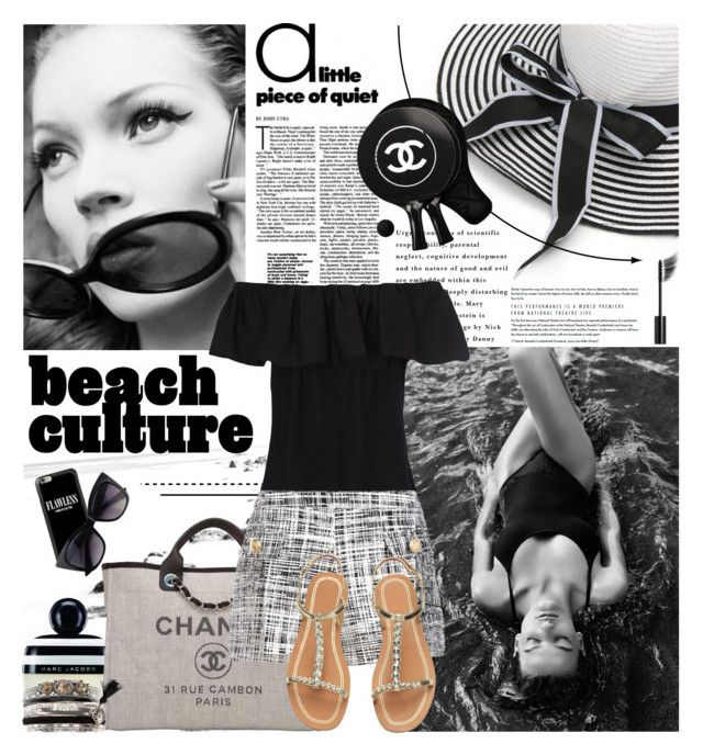 """""""Black&white beach style"""" by amethystes ❤ liked on Polyvore featuring Marc Jacobs, Chanel, French Connection, Boutique Moschino, New Look, Casetify and beachtotes"""