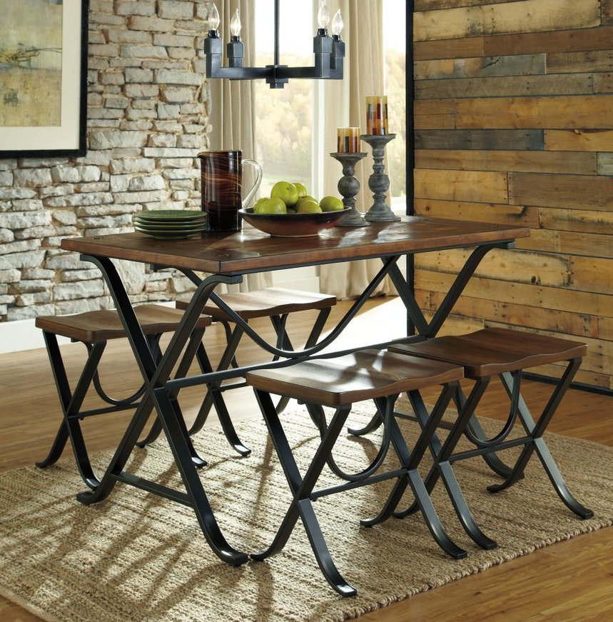 Industrial 5 Piece Dining Table Set Decor Dining Table Dining