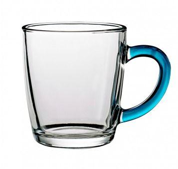 Teeglas mit Farbhenkel, blau, 340 ml - Glas für Heißgetränke, wie Tee oder Kaffee, mit fröhlichem Farbaktzent. Material: Glas