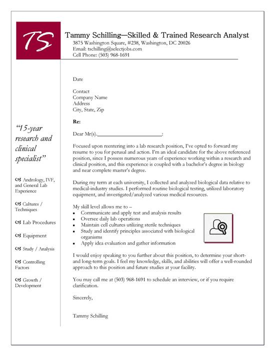 Research Cover Letter Example  Cover Letter Example Letter