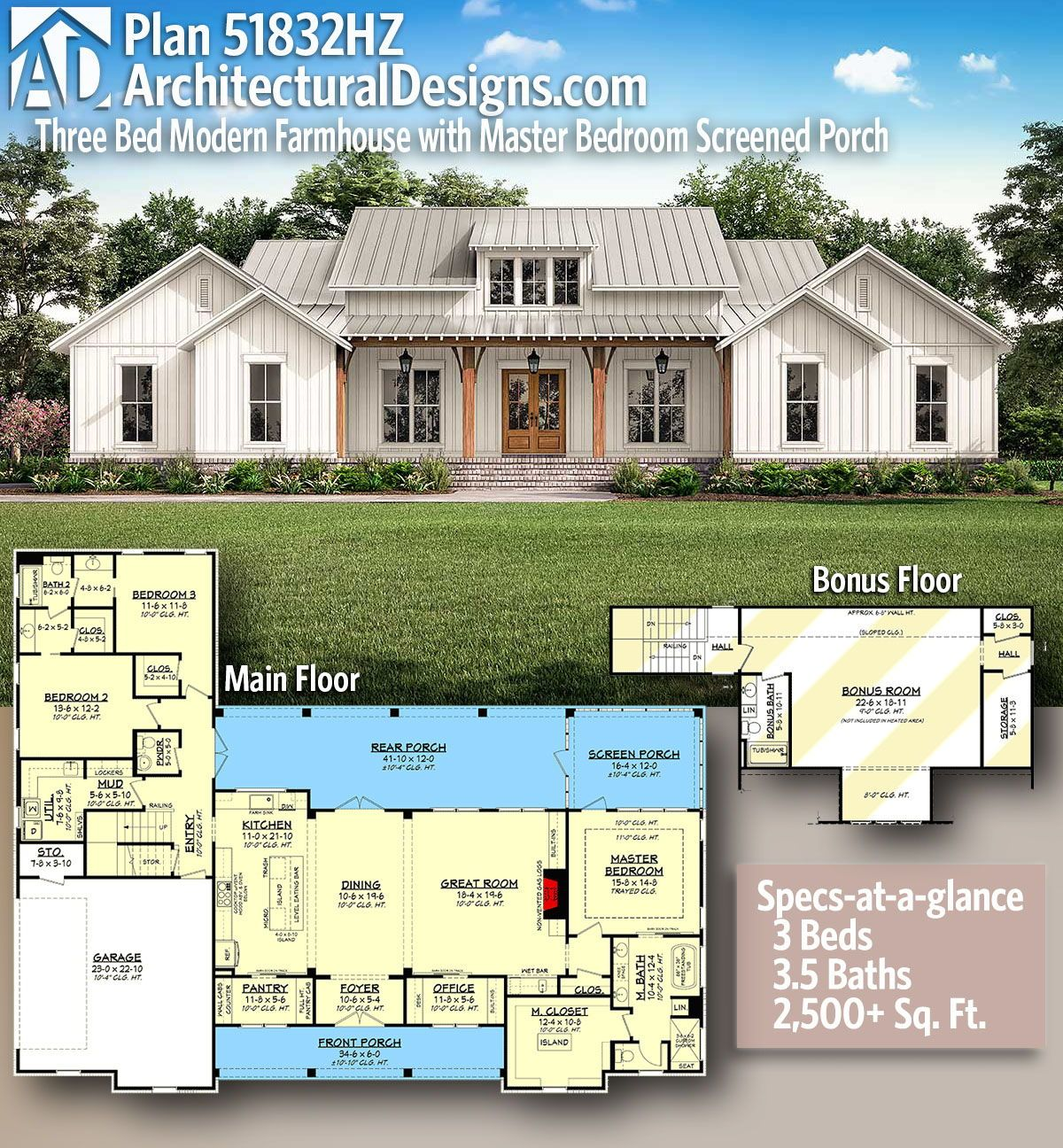 Plan 51832hz Three Bed Modern Farmhouse With Master Bedroom Screened Porch House Plans Farmhouse Farmhouse Floor Plans Dream House Plans