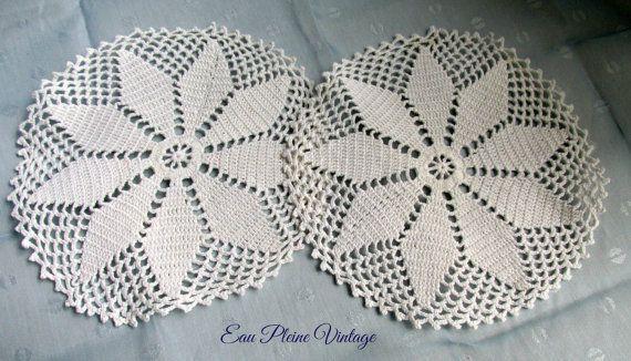 White Table Dollies Doily Home Decor Pair by EauPleineVintage