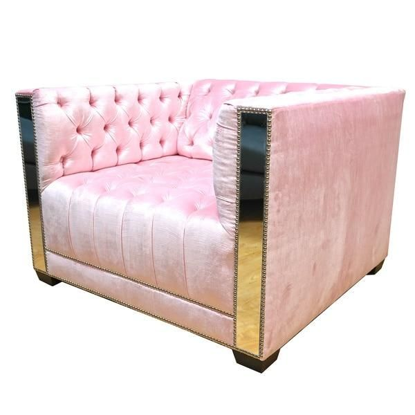 Decenni Getty Tufted Chair with Mirror Nail Head Accents   Decor ...