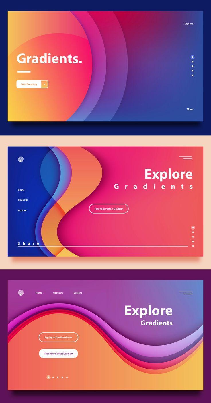 Zielseitenverläufe - Hintergrundinformationen für das Design von Web-Headern - Entwurf #interfacedesign