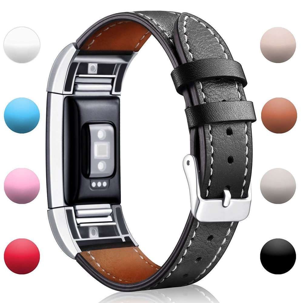 Soulen Fitbit Charge 2 Band Leather Replacement Band for Fitbit Charge 2