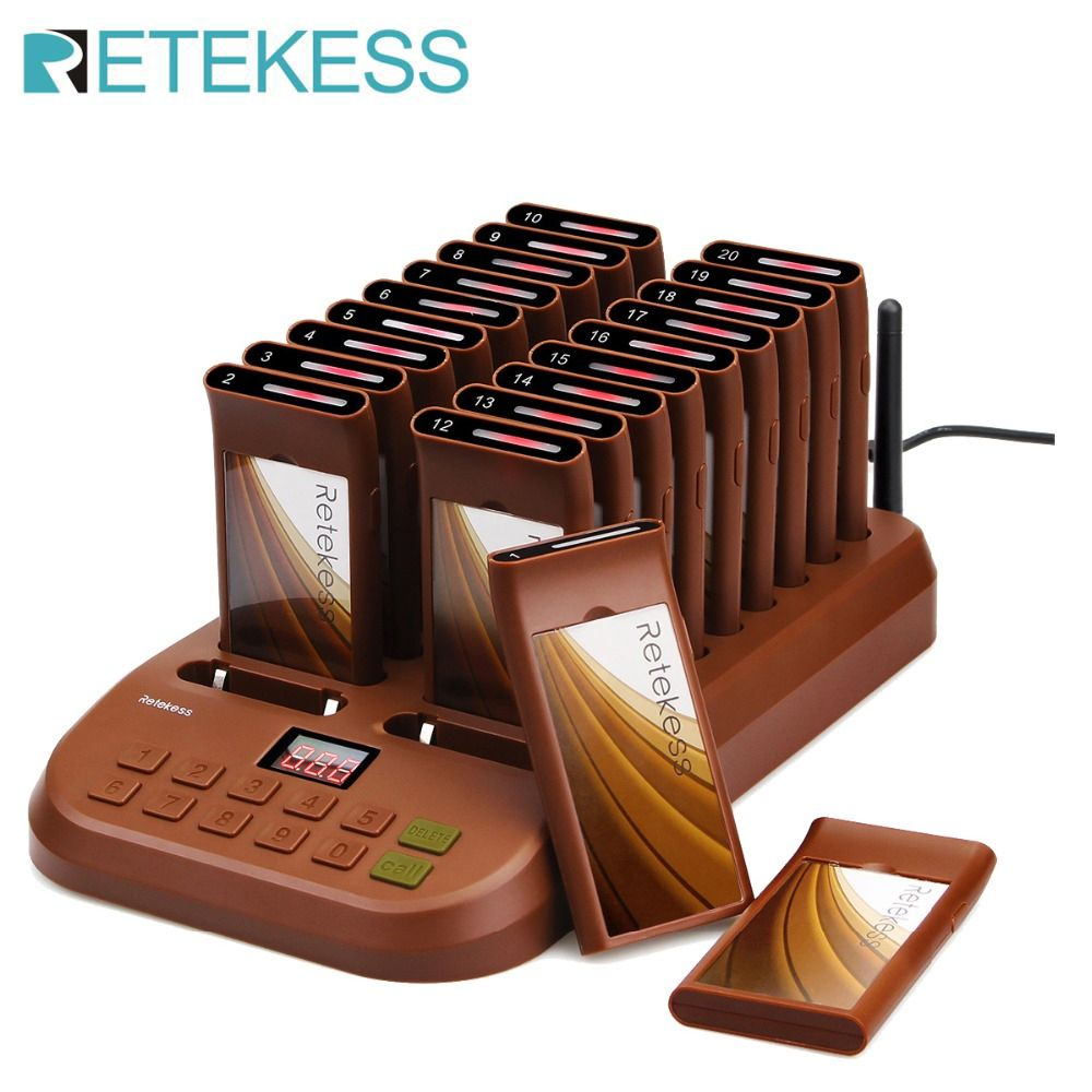 Retekess T116 Wireless Paging Queuing System Restaurant Pager Support 999 Calling Receiver Fo