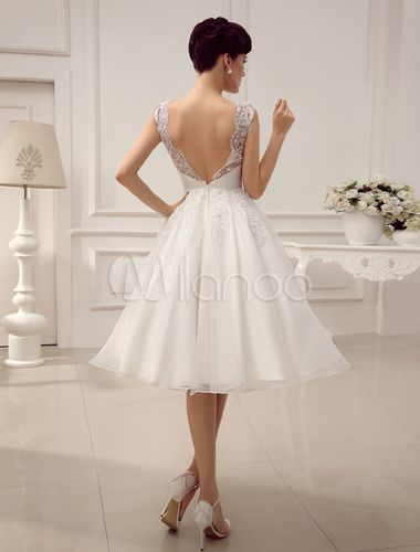 10fc9eb64 ... barato de línea A con escote redondo hasta la rodilla sin mangas.  Vestidos de novia cortos de la vendimia 1950 vestido de novia Backless  encaje ...